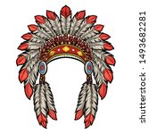 american native indian head... | Shutterstock .eps vector #1493682281