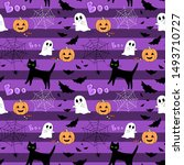 halloween seamless pattern.... | Shutterstock . vector #1493710727