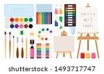 painter art tools. paint arts... | Shutterstock .eps vector #1493717747