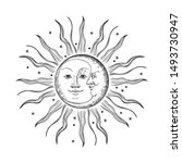 the face of the sun and moon.... | Shutterstock .eps vector #1493730947