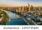 Frankfurt am Main. Cityscape image of Frankfurt am Main during sunrise. Serial view - stock photo