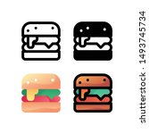 burger logo icon design in four ...