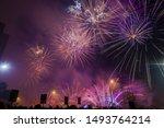 Purple Festive Fireworks On A...