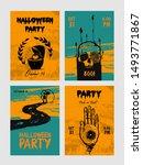 set of halloween party cards...   Shutterstock .eps vector #1493771867