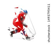 ice hockey player in red jersey ... | Shutterstock .eps vector #1493795411
