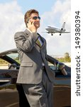 businessman with cellphone near ... | Shutterstock . vector #149380394