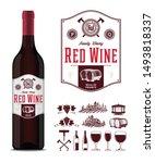 vector vintage red wine label...   Shutterstock .eps vector #1493818337