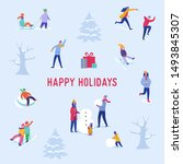 xmas party card or invitation... | Shutterstock .eps vector #1493845307