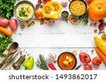 autumn soups. set of various... | Shutterstock . vector #1493862017