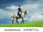 Young Woman Riding Horse On Th...