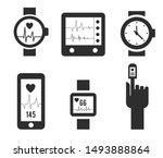 smart watch and heartbeat line... | Shutterstock .eps vector #1493888864