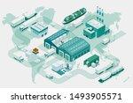 web template banner global... | Shutterstock .eps vector #1493905571