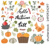 collection of hand drawn fall... | Shutterstock .eps vector #1493924297