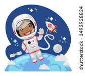 cartoon astronaut in outer...   Shutterstock .eps vector #1493928824