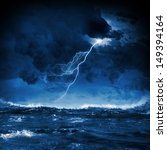 Image Of Night Stormy Sea With...