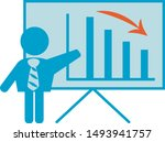 man with a chart  diagram  down ... | Shutterstock .eps vector #1493941757