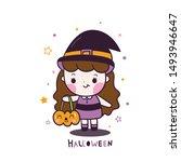 kawaii halloween girl vector... | Shutterstock .eps vector #1493946647