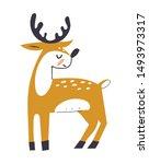 cute deer with antlers. deer in ... | Shutterstock .eps vector #1493973317