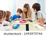 group of pupils in primary...   Shutterstock . vector #1493975744