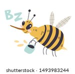 a cheerful bee flies with a... | Shutterstock .eps vector #1493983244