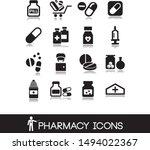 pharmacy icons in black style... | Shutterstock .eps vector #1494022367
