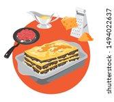 delicious lasagna recipe for... | Shutterstock .eps vector #1494022637