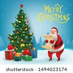 santa claus with christmas tree.... | Shutterstock .eps vector #1494023174