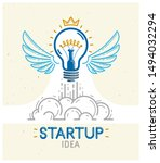 Idea Light Bulb With Wings...