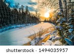 Winter Forest River Snow Sunse...