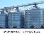 View Of Grain Elevator Against...