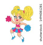 happy blonde cheerleader girl... | Shutterstock .eps vector #1494081281