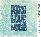 retro design of peace  love and ... | Shutterstock .eps vector #149412107