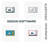 design software icon set. four...