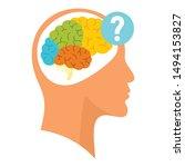 Human Brain Question Icon. Flat ...