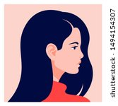 the head of a european girl in... | Shutterstock .eps vector #1494154307