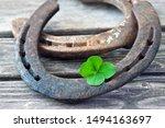 Stock photo lucky symbol horseshoe and lucky clover 1494163697