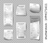 shop receipt set of realistic... | Shutterstock .eps vector #1494171611