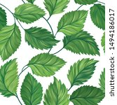 floral green leaf seamless...   Shutterstock . vector #1494186017