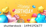 happy birthday background with... | Shutterstock .eps vector #1494192677