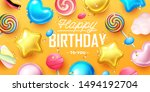 happy birthday background with... | Shutterstock .eps vector #1494192704