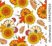 pumpkin  sunflower and fall... | Shutterstock .eps vector #1494195014