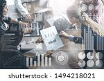 Small photo of Big Data Technology for Business Finance Analytic Concept. Modern graphic interface shows massive information of business sale report, profit chart and stock market trends analysis on screen monitor.