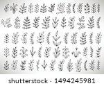 floral set of black outline... | Shutterstock .eps vector #1494245981