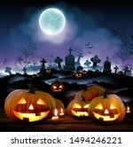 halloween night  background... | Shutterstock .eps vector #1494246221