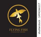Gold Flying Fish Vector Logo