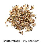 Healthy colorful cooked quinoa isolated on white. top view