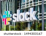 Small photo of August 21, 2019 San Francisco / USA - Slack Technologies, Inc. sign at their HQ in SOMA district; Slack (its main product) is a cloud-based set of collaboration software tools and online services