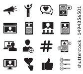 influencer icons. black flat... | Shutterstock .eps vector #1494356501