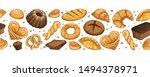 fresh bread banner. panoramic... | Shutterstock .eps vector #1494378971