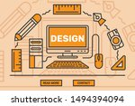 graphic design landing page or... | Shutterstock .eps vector #1494394094